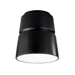 Radiance Carbon Matte Black LED Ceramic Cone Outdoor Flush Mount