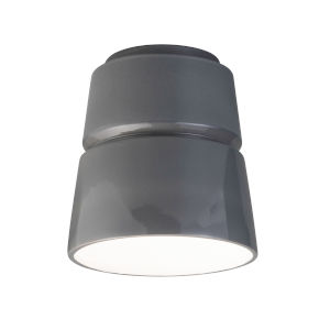 Radiance Gloss Gray One-Light Ceramic Cone Outdoor Flush Mount