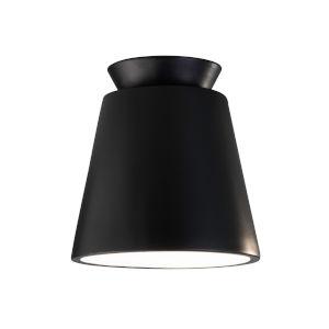 Radiance Carbon Matte Black LED Ceramic Trapezoid Outdoor Flush Mount