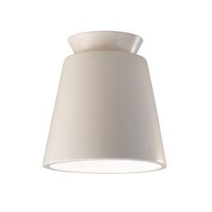 Radiance Matte White LED Ceramic Trapezoid Outdoor Flush Mount