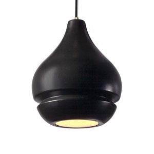 Radiance Carbon Matte Black Ceramic and Antique Brass Eight-Inch One-Light Arabesque Mini Pendant