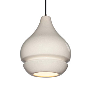 Radiance White Crackle Ceramic and Brushed Nickel Eight-Inch One-Light Mini Pendant