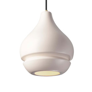Radiance Matte White Ceramic and Antique Brass Eight-Inch One-Light Arabesque Mini Pendant