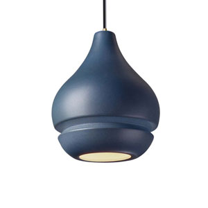 Radiance Midnight Sky Ceramic and Antique Brass Eight-Inch One-Light Mini Pendant