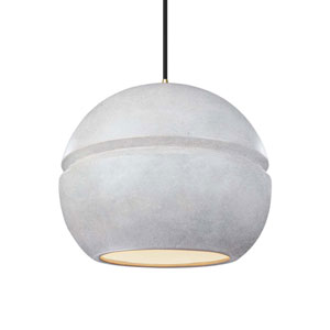 Radiance Concrete Ceramic and Antique Brass 12-Inch One-Light Sphere Pendant
