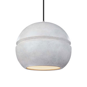 Radiance Concrete Ceramic and Polished Chrome 12-Inch One-Light Sphere Pendant