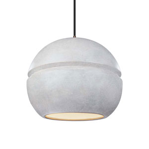 Radiance Concrete Ceramic and Dark Bronze 12-Inch One-Light Sphere Pendant