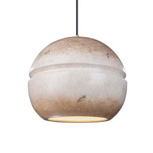 Radiance Greco Travertine Ceramic and Antique Brass 12-Inch One-Light Pendant
