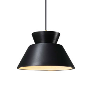 Radiance Carbon Matte Black Ceramic and Antique Brass 11-Inch One-Light Trapezoid Pendant