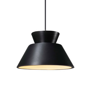 Radiance Carbon Matte Black Ceramic and Brushed Nickel 11-Inch One-Light Trapezoid Pendant