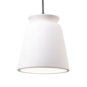 Radiance Matte Black LED Trapezoid Mini Pendant with Bisque Shade