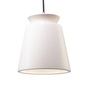 Radiance Brushed Nickel LED Trapezoid Mini Pendant with Matte White Shade