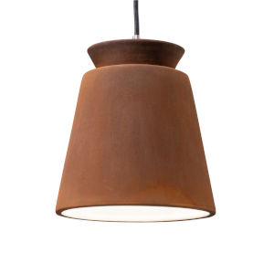 Radiance Brushed Nickel One-Light Trapezoid Mini Pendant with Real Rust Shade