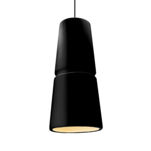 Radiance Matte Black and Antique Brass Two-Light LED Mini Pendant