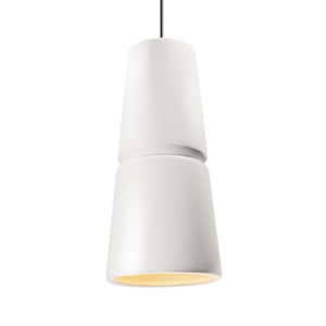 Radiance Gloss White and Antique Brass Two-Light LED Mini Pendant