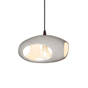 Radiance Concrete Ceramic and Dark Bronze 12-Inch One-Light Punch Pendant
