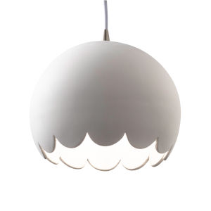 Radiance Brushed Nickel LED Scallop Mini Pendant with Bisque Shade