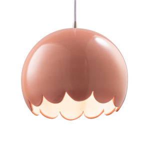 Radiance Brushed Nickel One-Light Scallop Mini Pendant with Gloss Blush Shade