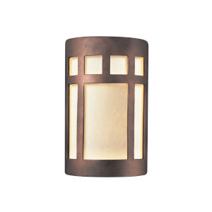 Ambiance Antique Copper Six-Inch Prairie Window Closed Top and Bottom LED Outdoor Wall Sconce
