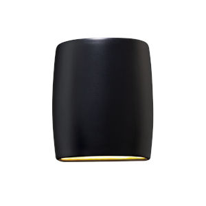 Ambiance Carbon Matte Black LED ADA Outdoor Ceramic Wide Cylinder Wall Sconce