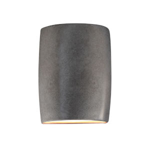 Ambiance Antique Silver ADA LED Outdoor Ceramic Wide Cylinder Wall Sconce