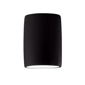 Ambiance Carbon Matte Black ADA LED Outdoor Ceramic Wide Cylinder Wall Sconce