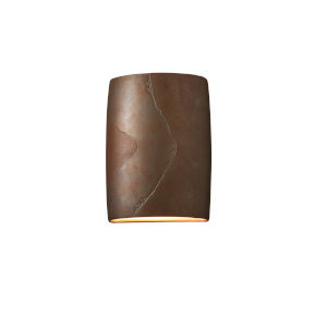 Ambiance Tierra Red Slate ADA LED Outdoor Ceramic Wide Cylinder Wall Sconce