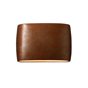 Ambiance Rust Patina 16-Inch Two-Light Open Top and Bottom Wall Sconce