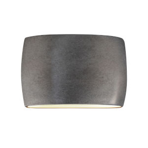 Ambiance Antique Silver Two-Light LED ADA Outdoor Ceramic Wide Oval Wall Sconce