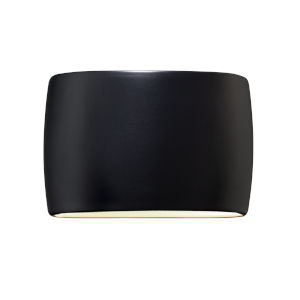 Ambiance Carbon Matte Black Two-Light LED ADA Outdoor Ceramic Wide Oval Wall Sconce