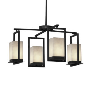 Clouds Matte Black Four-Light LED Chandelier