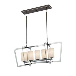 Clouds - Aria Polished Chrome Five-Light Chandelier with Cylinder Flat Rim Clouds Shade