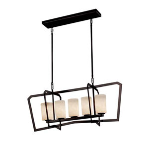 Clouds - Aria Dark Bronze Five-Light LED Chandelier with Cylinder Flat Rim Clouds Shade