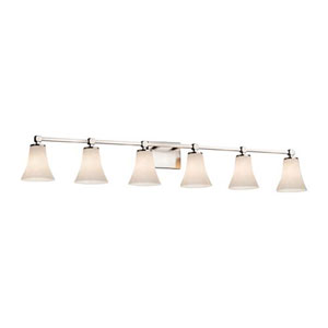 Clouds - Tetra Brushed Nickel Six-Light LED Bath Bar with Round Flared Clouds Shade