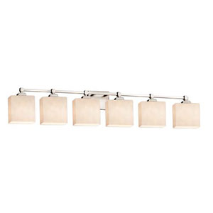 Clouds - Tetra Brushed Nickel Six-Light LED Bath Bar with Rectangle Clouds Shade