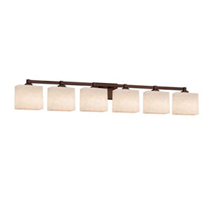 Clouds - Regency Dark Bronze Six-Light LED Bath Bar with Rectangle Clouds Shade