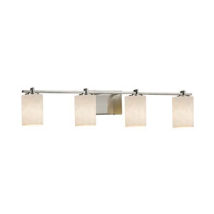 Clouds - Era Brushed Nickel Four-Light Bath Bar with Cylinder Flat Rim Clouds Shade