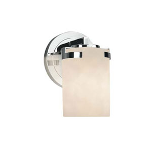 Clouds - Atlas Polished Chrome One-Light Wall Sconce with Cylinder Flat Rim Clouds Shade