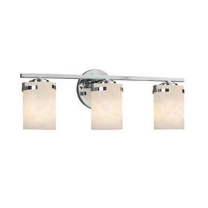 Clouds - Atlas Polished Chrome Three-Light LED Bath Bar with Cylinder Flat Rim Clouds Shade