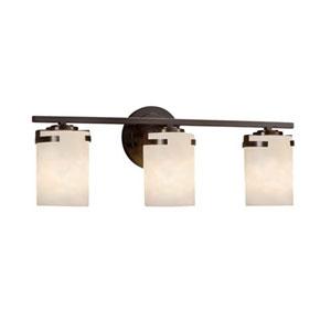 Clouds - Atlas Dark Bronze Three-Light LED Bath Bar with Cylinder Flat Rim Clouds Shade