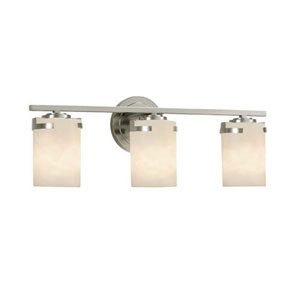 Clouds - Atlas Brushed Nickel Three-Light LED Bath Bar with Cylinder Flat Rim Clouds Shade