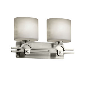 Clouds Argyle Brushed Nickel Two-Light Bath Vanity with Oval Shade