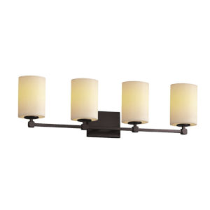 CandleAria Tetra Matte Black and Cream Four-Light LED Bath Vanity