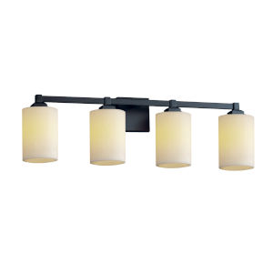CandleAria Regency Matte Black and Cream Four-Light LED Bath Vanity