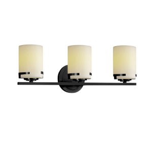 CandleAria Matte Black and Cream Three-Light LED Bath Vanity
