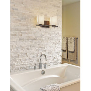 CandleAria - Malleo Brushed Nickel 15-Inch Two-Light LED Bath Vanity