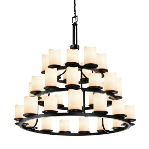 CandleAria Dark Bronze and Cream 36-Light Chandelier