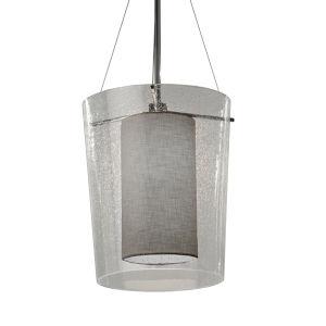 Textile Amani Polished Chrome and Gray LED Pendant