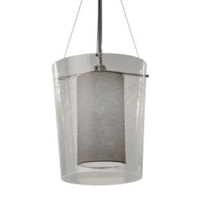 Textile Amani Polished Chrome and Gray One-Light Pendant
