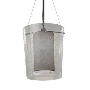 Textile Amani Brushed Nickel and Gray LED Pendant